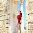 Brunette in tha ancient town - Foto Stock