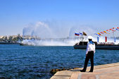 Russian naval parade in Sevastopol city — Stock Photo