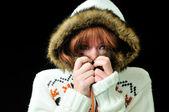 Frozen redheaded girl — Stock Photo