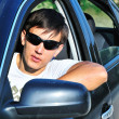 Man in car — Stock Photo