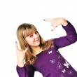 Teen girl rock out — Stock Photo