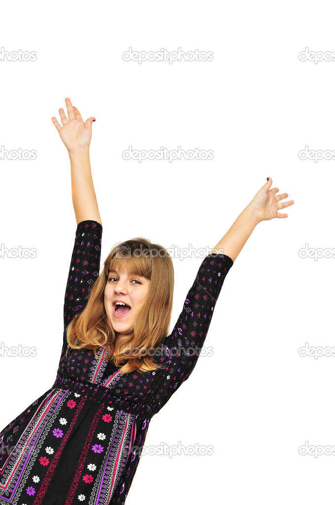 Happy teen girl having fun over the white  Stock Photo #1843218