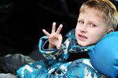 汽车座椅的男孩 — 图库照片