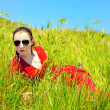 Girl in grass — Stock Photo