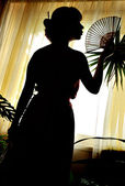 Shadow-figure of oriental woman — Stock Photo