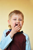 Boy And Chocolate — Stock Photo