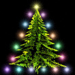 Spruce decorated with lights — Stock Photo