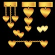 Royalty-Free Stock Vector Image: Gold set of hearts