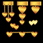 Gold set of hearts — Stock Vector
