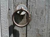 The Metallic ring on old door. — Stock Photo