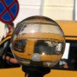Streetlamp and yellow taxi car — Stock Photo