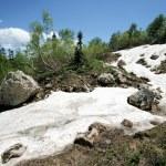 Caucasian mountain landscape with snow — Stock Photo
