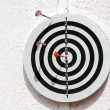 Dartboard with three arrows — Stock Photo