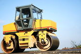 Yellow road-roller — Stock Photo