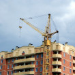 Lifting crane on the building new house — Stock Photo