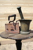 Iron and mortar. — Stock Photo