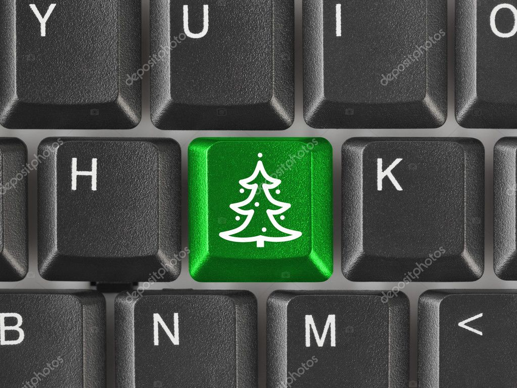 Computer keyboard with Christmas tree key - holiday concept — Stock Photo #1152518