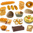 Set of bread and cakes — Stockfoto