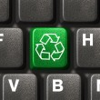 Computer keyboard with recycling symbol — Stock Photo