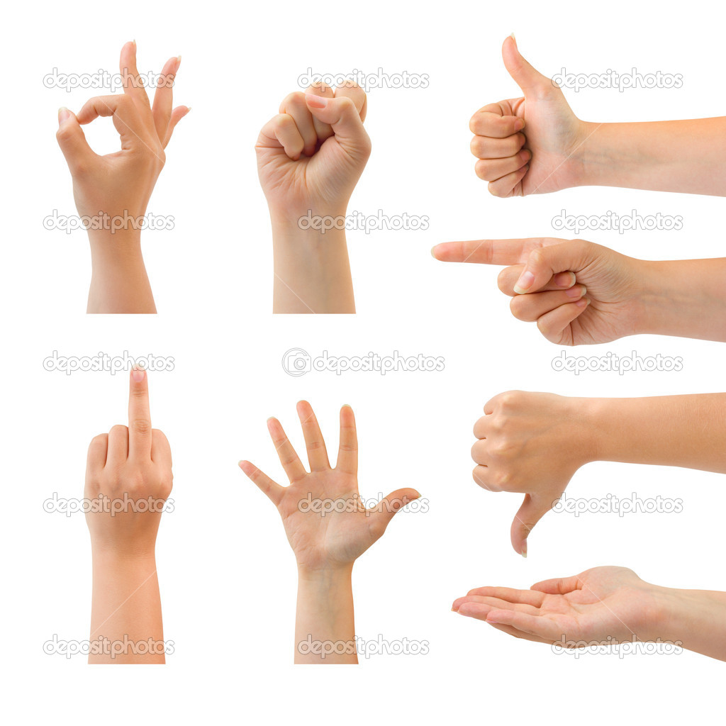 Set of gesturing hands isolated on white background — Zdjęcie stockowe #1178161