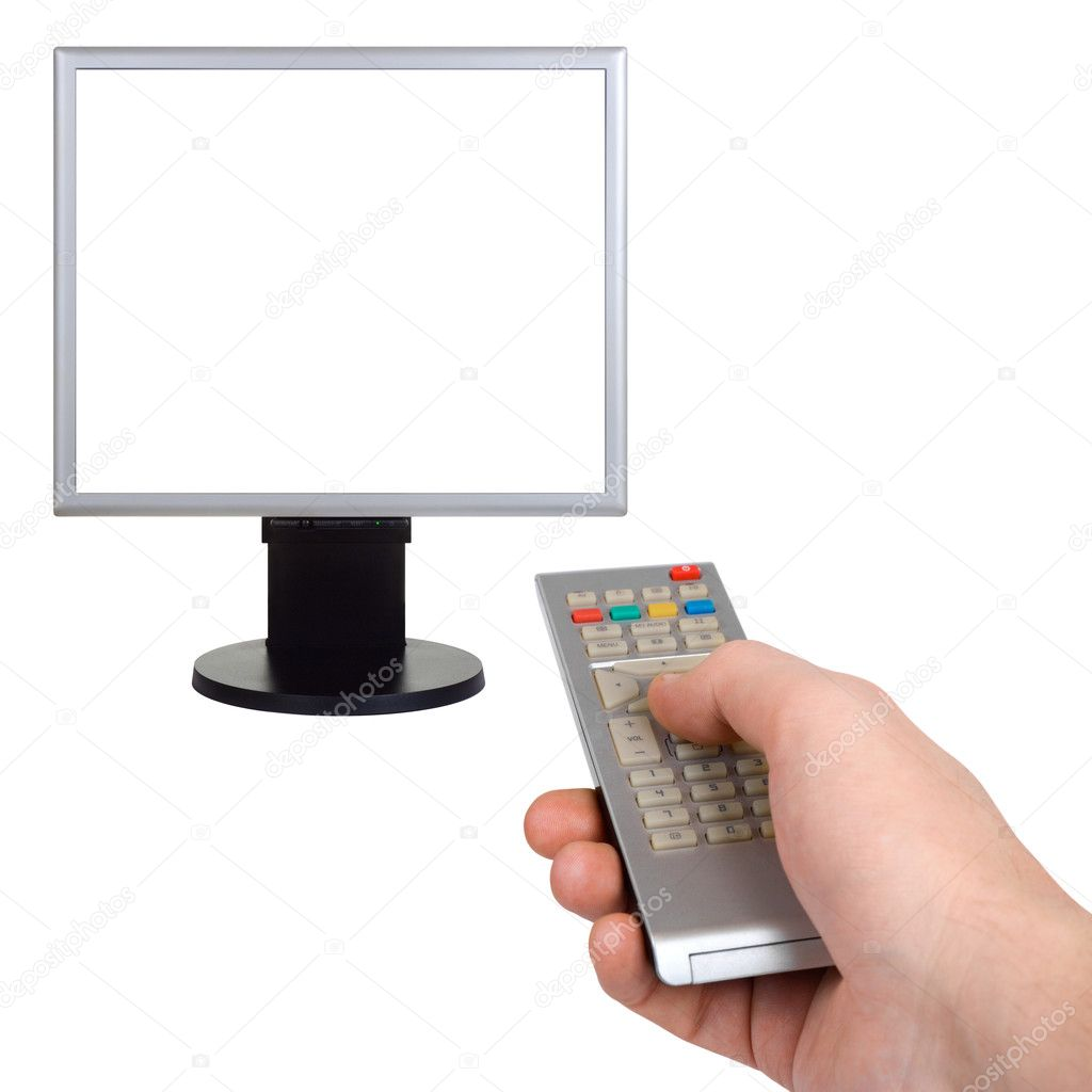 Hand with remote control and tv isolated on white background — Stock Photo #1178892