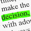 Stock Photo: Word decision in text