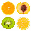 Set of fruit slices — Foto de Stock
