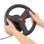 Computer steering wheel and hands — Stock Photo
