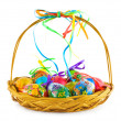 Basket with Easter eggs - Stock Photo