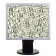 Computer monitor with money — Stock Photo