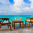 Stock Photo: Two cocktails on table, beach cafe