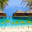 Water bungalows on a tropical island - Stock Photo