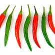 Green and red hot chili pepper — Stock Photo