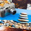 Camera and photo printouts (my photos) — Stock Photo