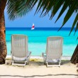 Royalty-Free Stock Photo: Chairs on tropical beach