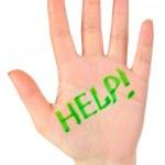 main et le mot aide — Photo
