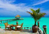 Café op het strand — Stockfoto