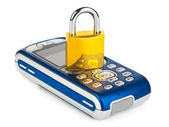 Mobile phone and lock — Stock Photo