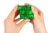 Hands with technology puzzle — Foto Stock