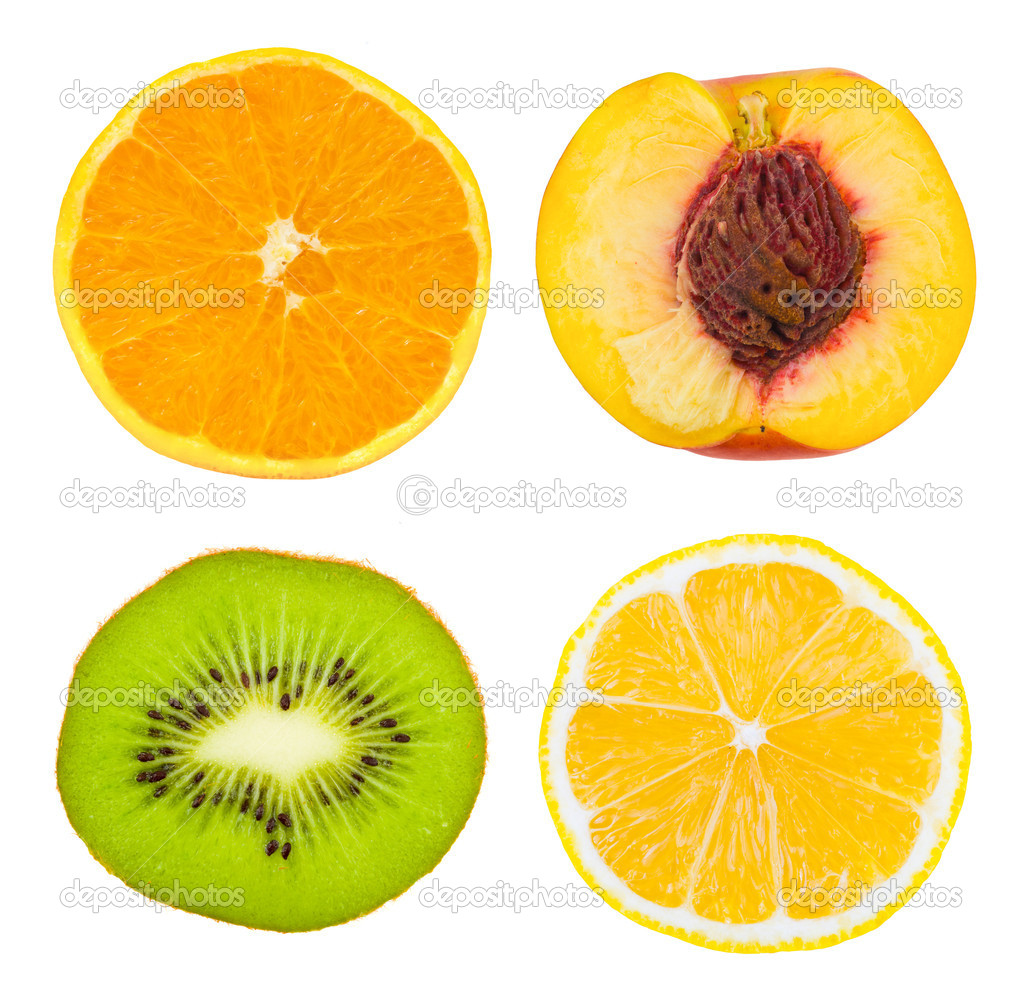 Set of fruit slices isolated on white background — Stock Photo #1180297