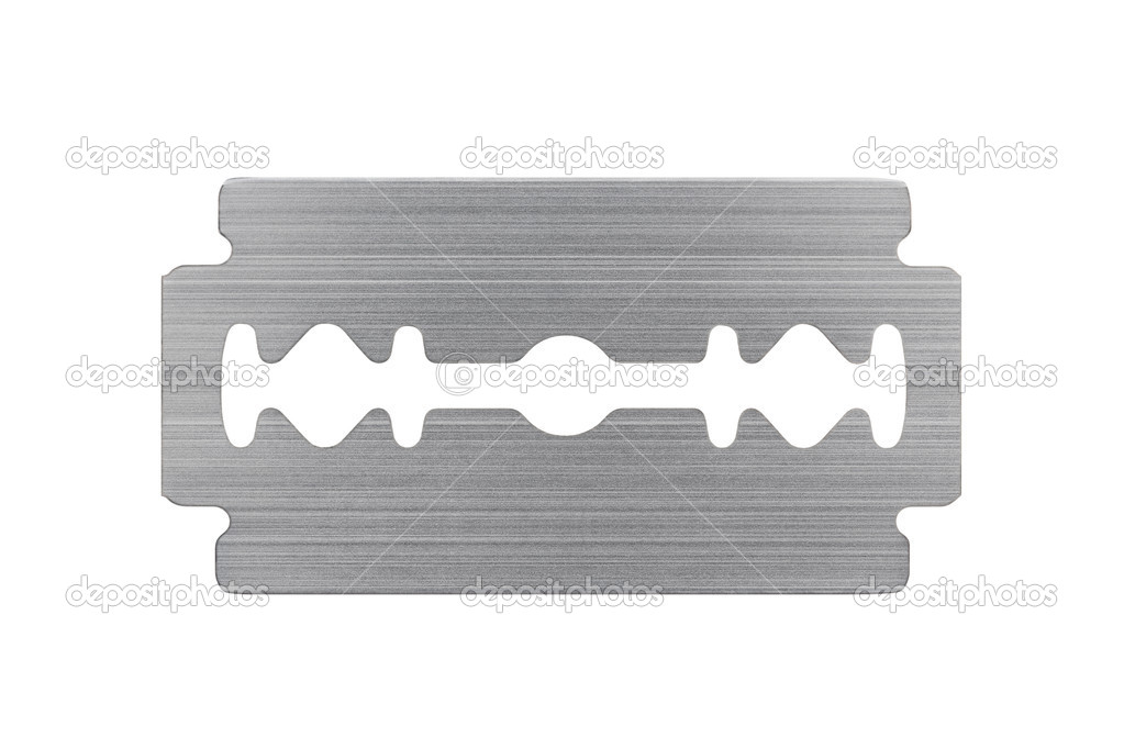 Macro of razor blade isolated on white background — Stock Photo #1181189