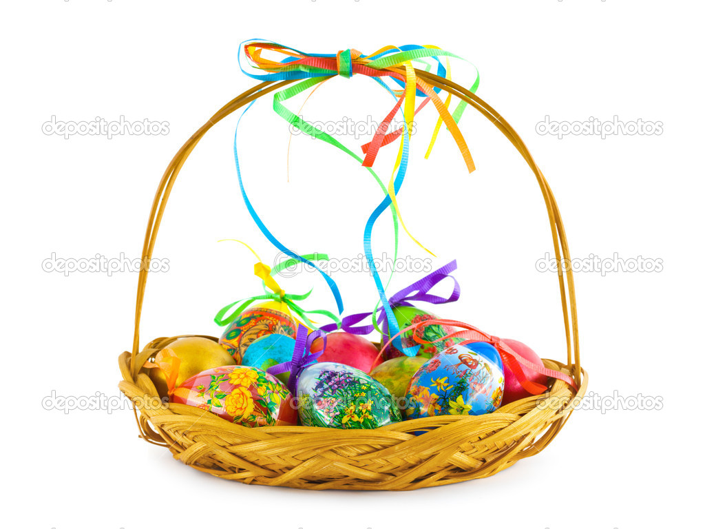 Basket with Easter eggs isolated on white background  Stock Photo #1181696