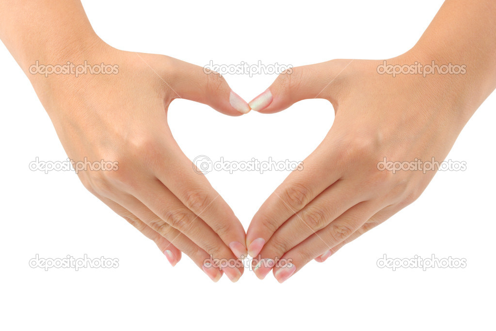Heart made of hands isolated on white background — Stock Photo #1181755