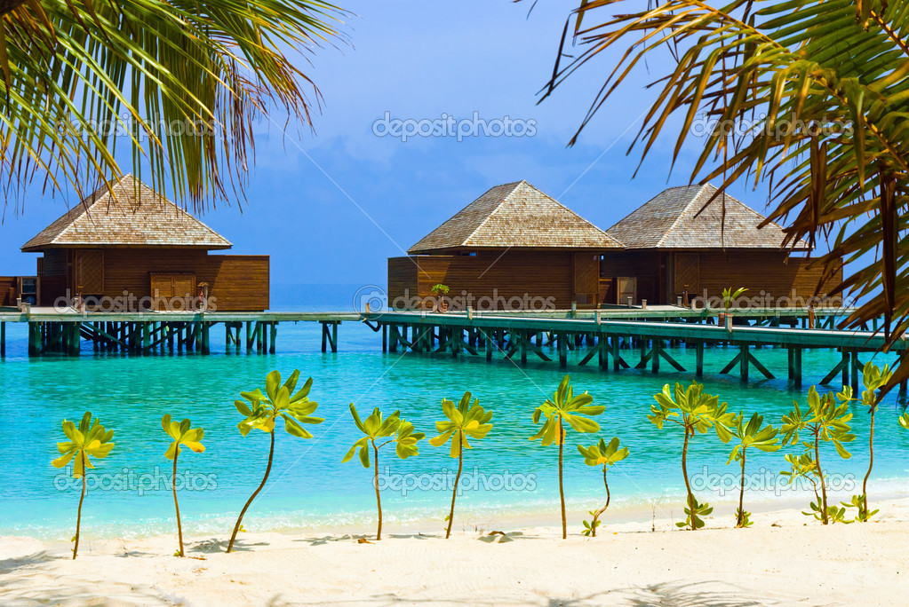 Water bungalows on a tropical island - vacation background — Stock Photo #1183518
