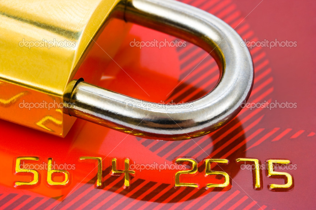 Lock and credit card - business security background — Stock Photo #1183570