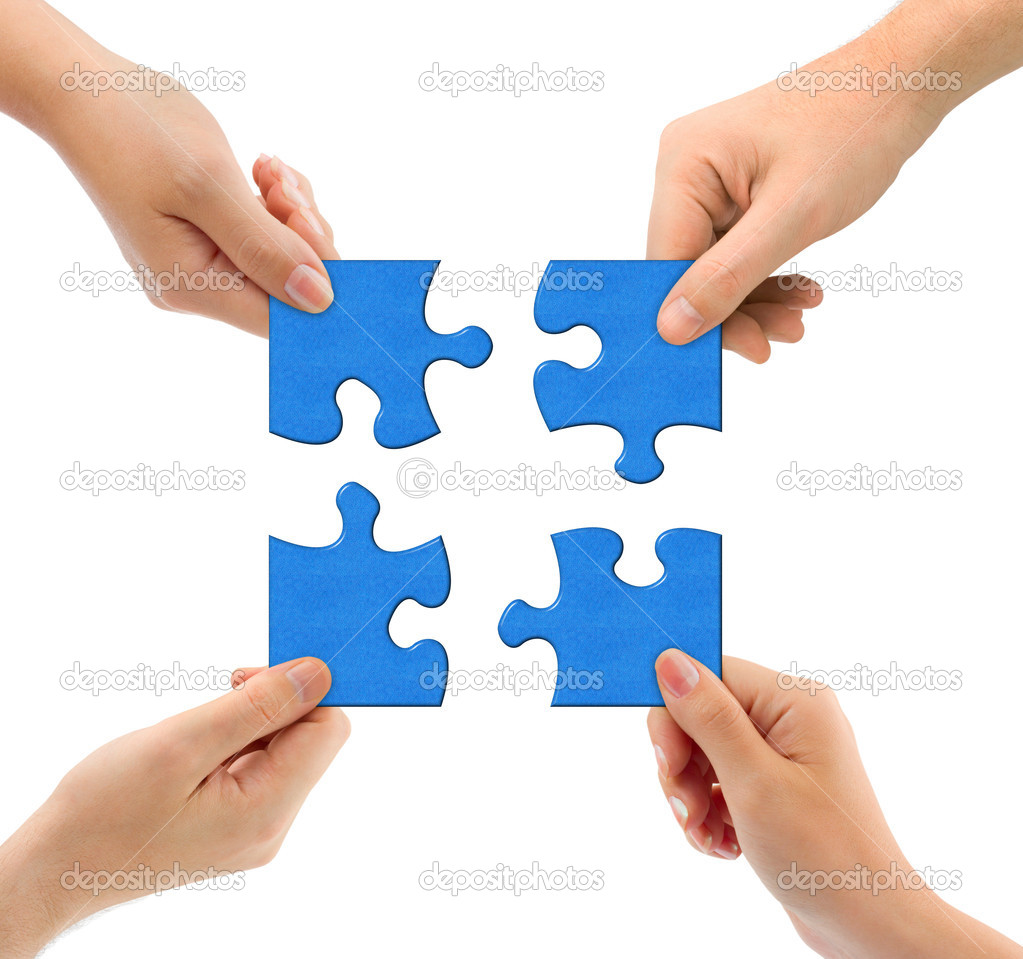Hands and puzzle isolated on white background — Stock Photo #1184893