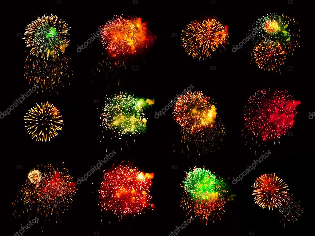 Fireworks isolated on black background  Stock Photo #1185485
