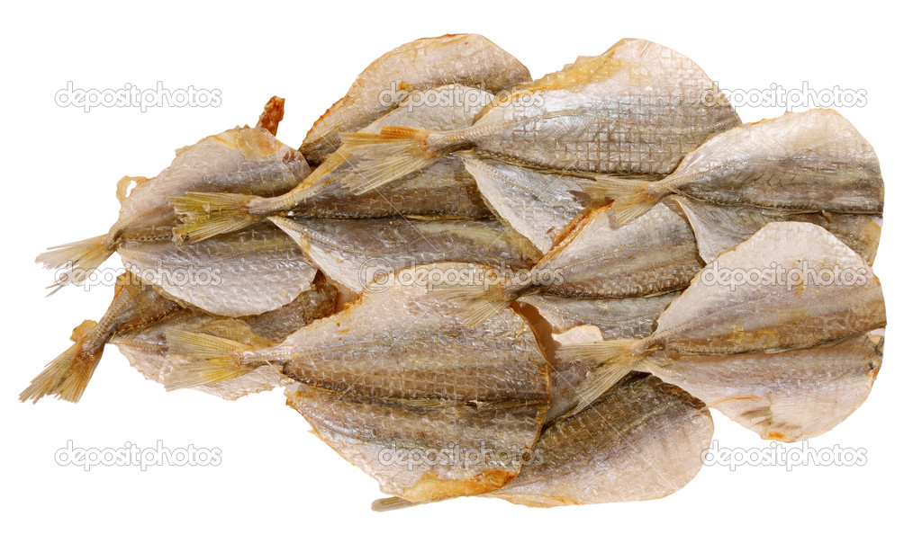 Dried fish tails on a white background it is isolated — Stock Photo #1201037