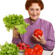 Stock Photo: Red pepper and green salad