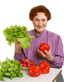 Red pepper and green salad — Stock Photo